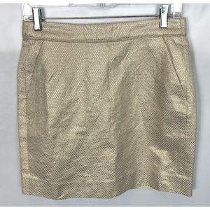 J CREW cream gold jacquard nori skirt size 2